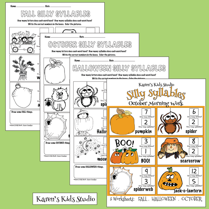 SILLY SYLLABLES Worksheets (Karen's Kids Printables)