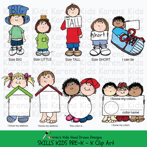 Clip art of primary skills and kids