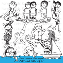 Load image into Gallery viewer, Black and white clip Art examples of Sports and Kids; bicycle clip art, boating, basketball clipart, gymnastics, swimming by Karen's Kids clipart..