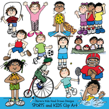 Load image into Gallery viewer, Full color clip Art examples of Sports and Kids; bicycle clip art, boating, basketball clipart, gymnastics, swimming by Karen's Kids.