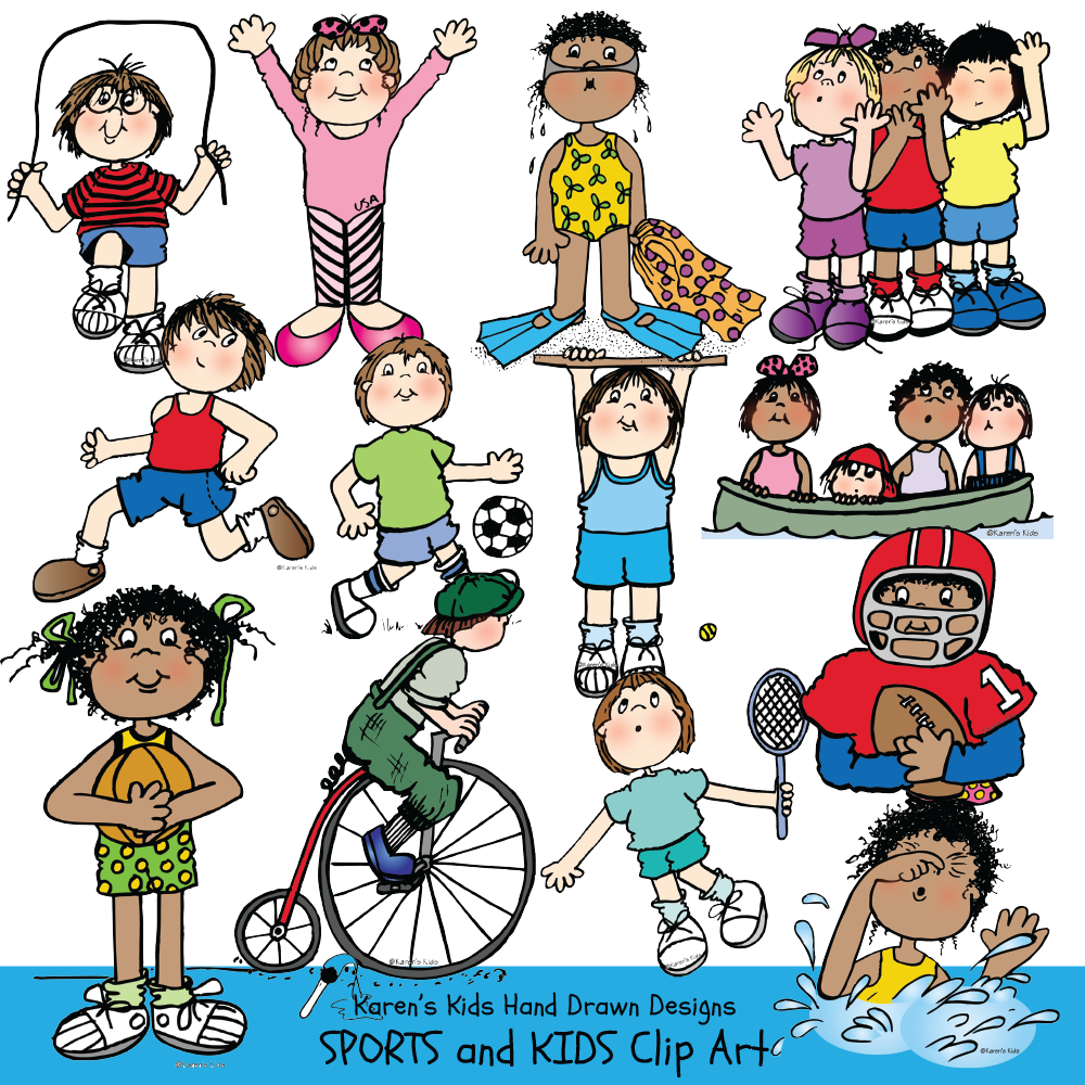 Full color clip Art examples of Sports and Kids; bicycle clip art, boating, basketball clipart, gymnastics, swimming by Karen's Kids.