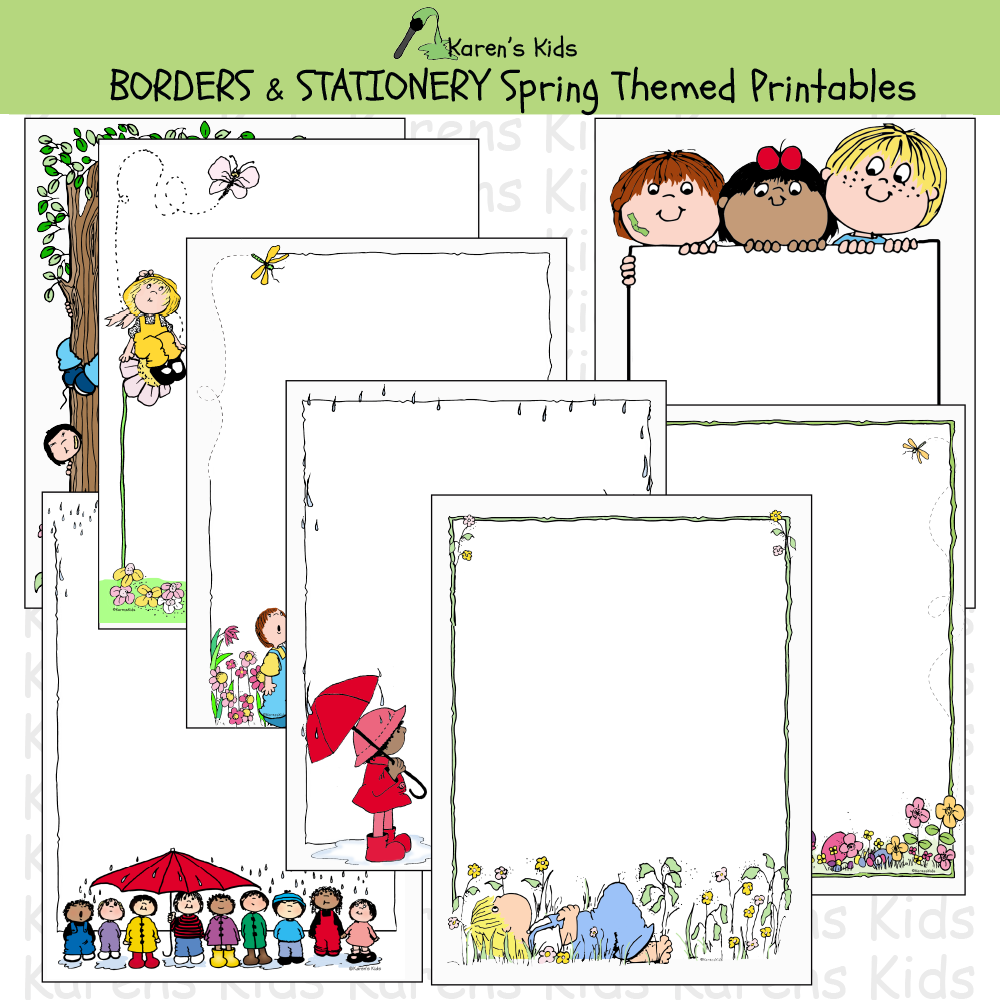 Samples of colorful, editable Spring BORDERS and stationery (Karen's Kids Editable Printables)