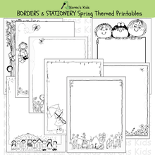 Load image into Gallery viewer, Samples of black and white, editable Spring BORDERS and stationery (Karen's Kids Editable Printables)