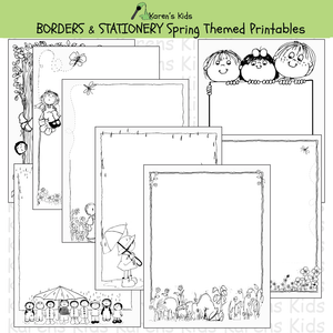 Samples of black and white, editable Spring BORDERS and stationery (Karen's Kids Editable Printables)
