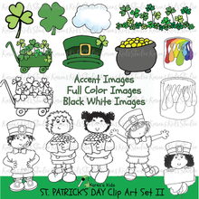 Load image into Gallery viewer, Samples of St. Patrick's Day clipart showing in black and white and full color:  3 leaf clover, 4 leaf clover, clover patch, pot of gold, rainbow paint, black and white line drawings of clipart kids holding pots of gold, blank signs and more.