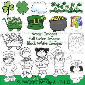 Samples of St. Patrick's Day clipart showing in black and white and full color:  3 leaf clover, 4 leaf clover, clover patch, pot of gold, rainbow paint, black and white line drawings of clipart kids holding pots of gold, blank signs and more.