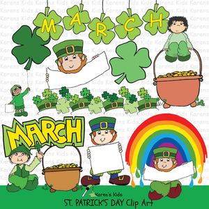 Sample illustrations of St Patricks Day clipart from Karen's Kids.