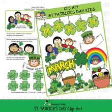 Load image into Gallery viewer, Sample illustrations of St Patricks Day clipart from Karen's Kids.