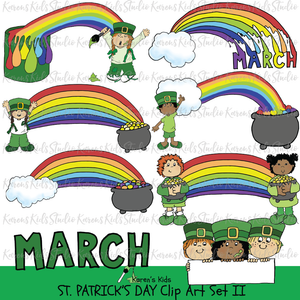 Samples of full color rainbow clipart; a rainbow painted by a girl dressed in green, a rainbow coming out of a cloud and ending on MARCH, a rainbow with a child at each end and more.