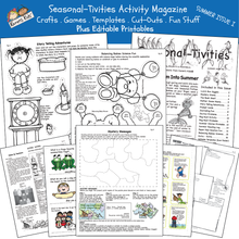 Load image into Gallery viewer, Sample of Summer activity kit including: make-your-own puzzle message, joke cards, fairy-tale props and characters activity and more