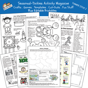 Samples of activity pages; science, writing, puppets, more.