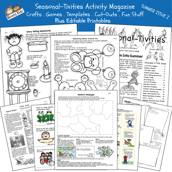 Samples of Summer activity pages; science, story-telling, bear puppets, more.