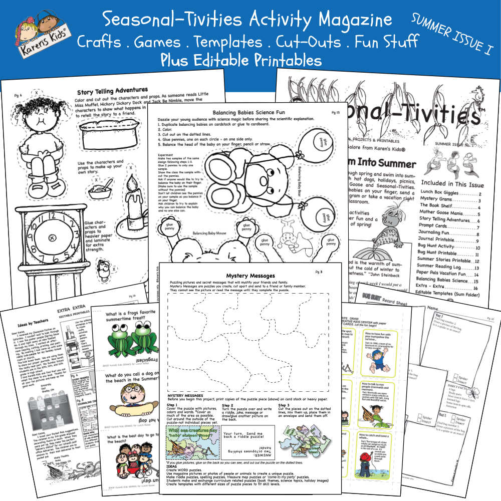 Sample of Summer activity kit including: make-your-own puzzle message, joke cards, fairy-tale props and characters activity and more