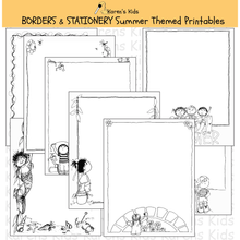 Load image into Gallery viewer, Samples of black, white, editable Summer BORDERS and stationery (Karen's Kids Editable Printables)