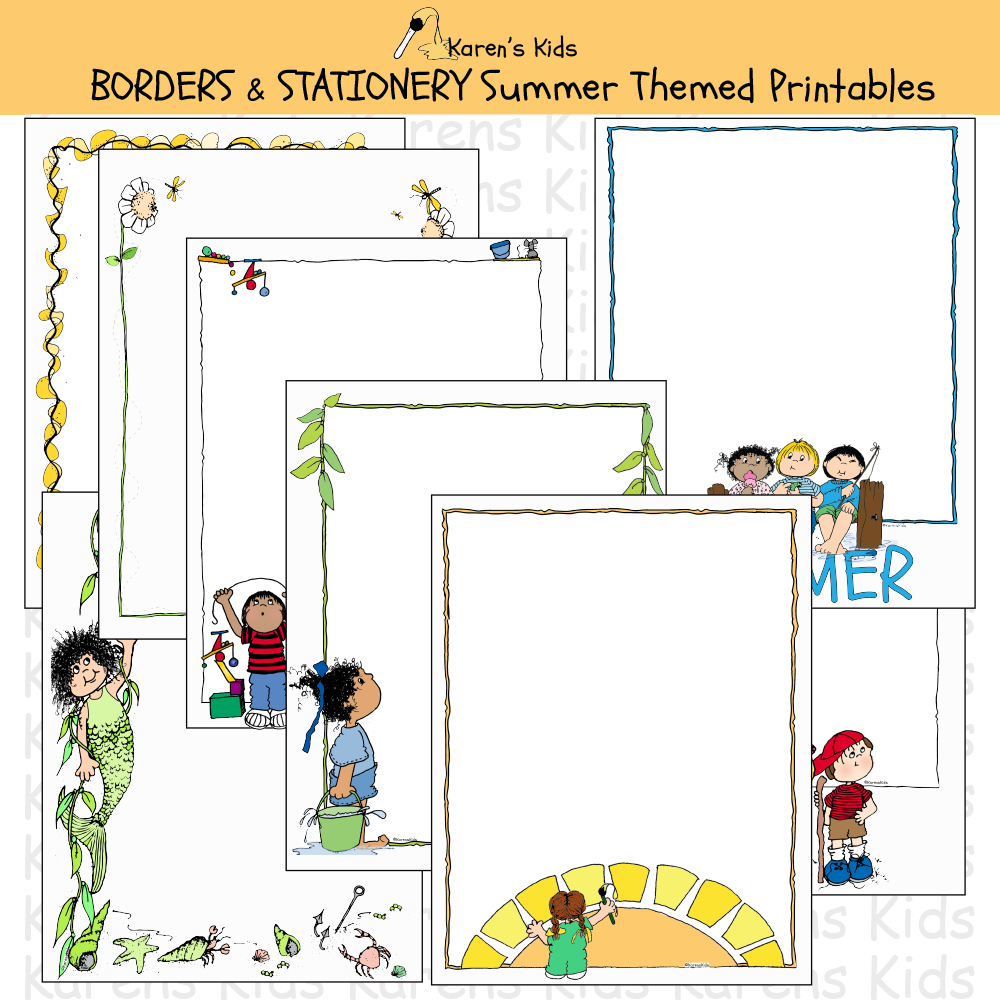 Samples of colorful, editable Summer BORDERS and stationery (Karen's Kids Editable Printables)