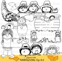 Load image into Gallery viewer, Thanksgiving clip art in black and white