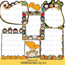 Load image into Gallery viewer, Thanksgiving borders in full color (Karen's Kids Clipart)