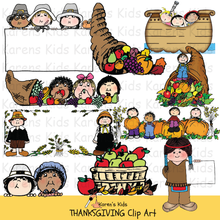 Load image into Gallery viewer, Thanksgiving clip art in full color  (Karen's Kids Clipart)