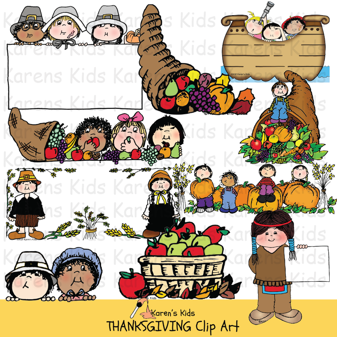 Thanksgiving clip art in full color  (Karen's Kids Clipart)