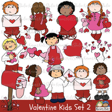 Load image into Gallery viewer, Valentine clipart, illustrations of valentines, kids holding valentines, girl holding valentine balloons, boy holding valentine, red mailbox with valentines, kids with valentines clip art