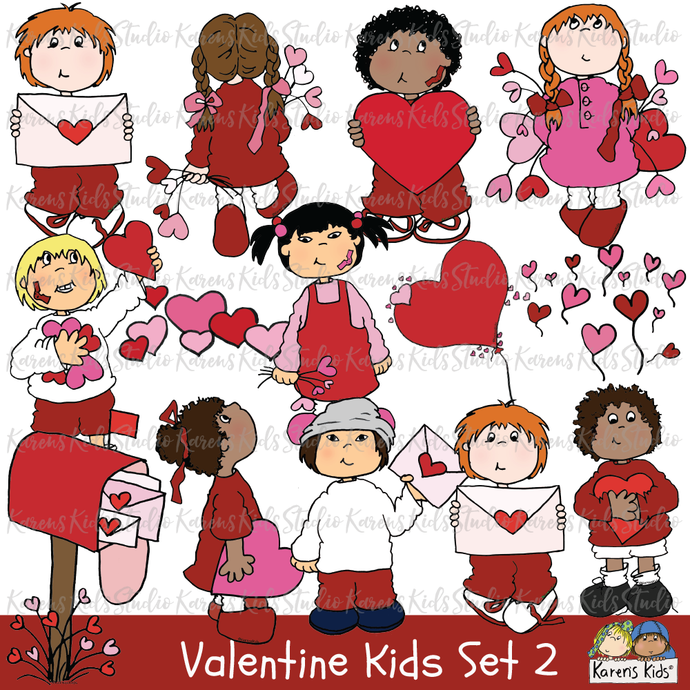 Valentine clipart, illustrations of valentines, kids holding valentines, girl holding valentine balloons, boy holding valentine, red mailbox with valentines, kids with valentines clip art