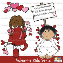 Load image into Gallery viewer, Cute girl with valentine bouquet, valentine angel, multicultural kids with valentines