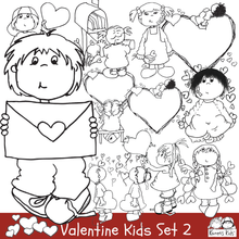 Load image into Gallery viewer, Valentine illustrations, line drawings of valentines and kids, valentine balloon drawings, kids holding valentines, heart illustrations, cute boy holding valentines