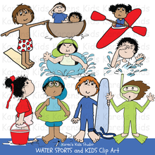 Load image into Gallery viewer, Clip Art of colorful Water Sports and Kids images (Karen's Kids Clipart)