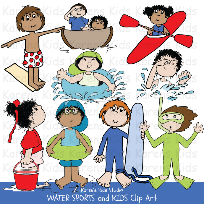 Clip Art of colorful Water Sports and Kids images (Karen's Kids Clipart)