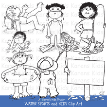 Load image into Gallery viewer, Clip Art of black and white Water Sports and Kids images (Karen's Kids Clipart)