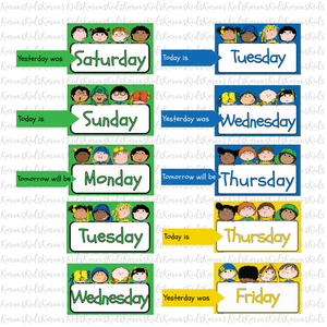 WEEK DAY CARDS Bright Colors Set Ready to Use