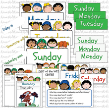 Load image into Gallery viewer, WEEK DAY Name Cards Kit Happy Kids Set Ready to Use