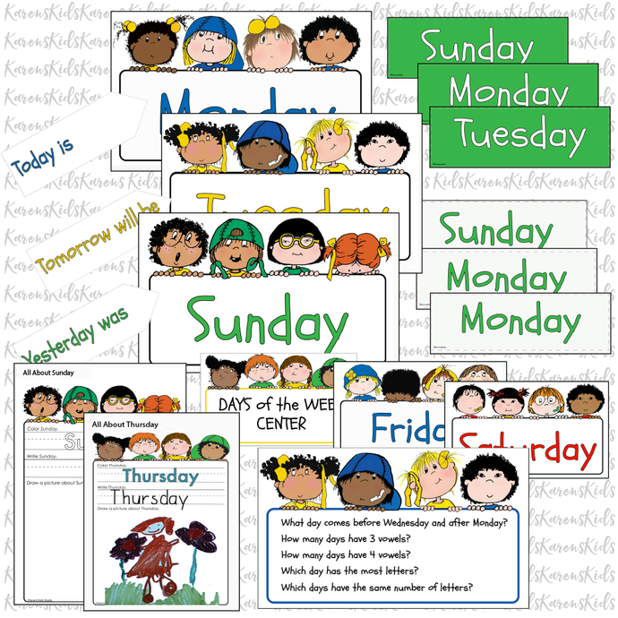 WEEK DAY Name Cards Kit Happy Kids PDF Set Ready to Use