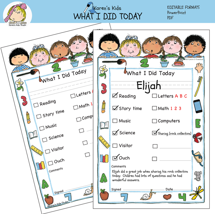 Free WHAT I DID TODAY Printable