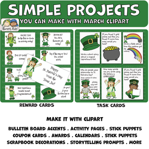 Color samples of projects you can make with clipart.