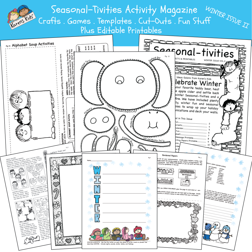 Samples of Winter activity kit 2 including: create a creature activity, alphabet soup activity, winter words activity and more