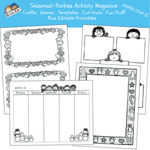ACTIVITY PRINTABLES for Winter Issue II (Karen's Kids Print and Use)