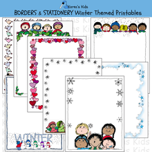 Load image into Gallery viewer, Samples of colorful, editable Winter BORDERS and stationery (Karen's Kids Editable Printables)