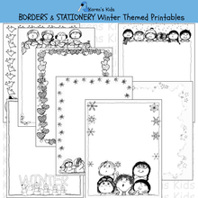 Load image into Gallery viewer, Samples of black, white editable Winter BORDERS and stationery (Karen's Kids Editable Printables)