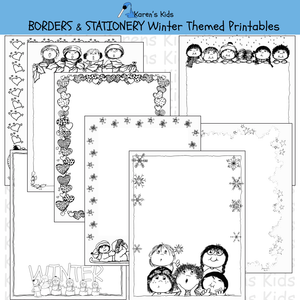 Samples of black, white editable Winter BORDERS and stationery (Karen's Kids Editable Printables)