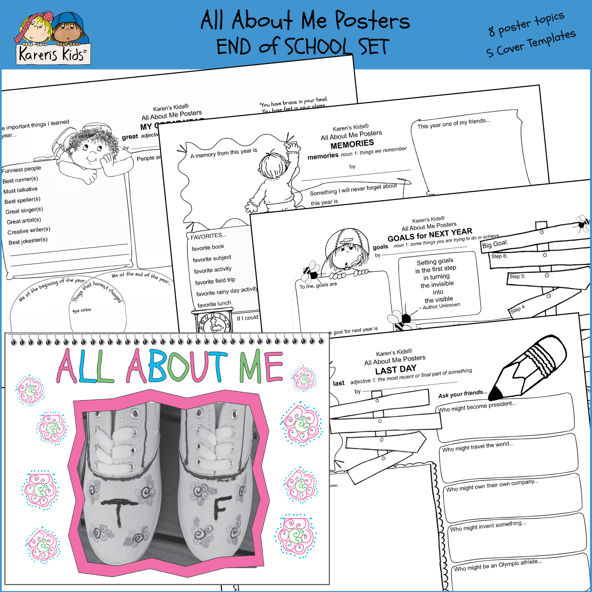 photograph regarding All About Me Poster Printable known as POSTER All More than Me Posters Conclude of Calendar year Mounted Printables