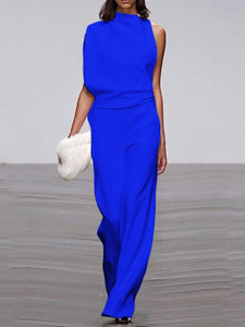 Women's Commuting Asymmetry Sleeve Pure Color Jumpsuit
