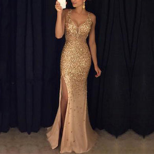 Fashion V-Neck Side Slit Glitter Evening Dress