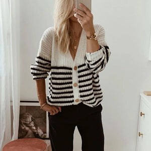 Casual Stripst V-neck Cardigan Sweater