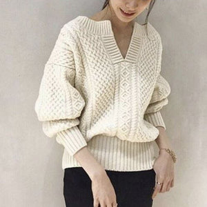 Ladies Vintage Solid Color V-Neck Lantern Sleeve Sweater