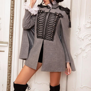 Women's Fashion Retro Style Decorative Button Long Sleeve Coat