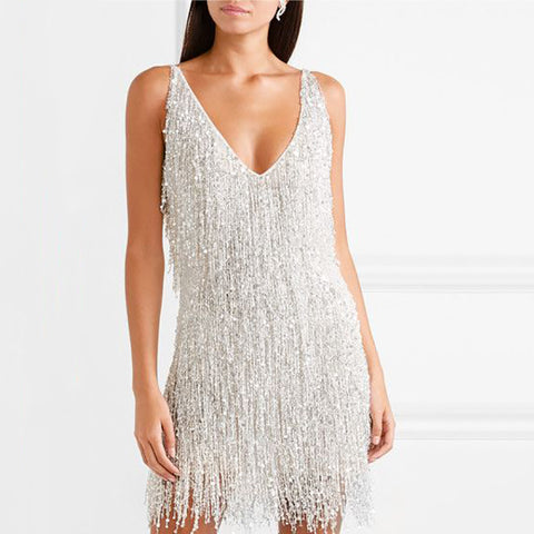 V-neck fringed sling backless sexy dress
