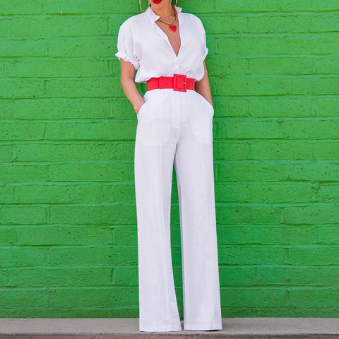 Sexy V Neck Short Sleeve Pure Color Jumpsuit