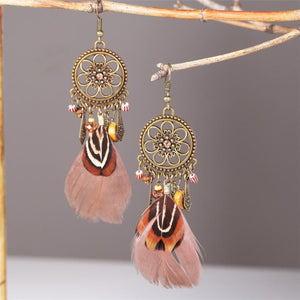 Bohemian feather retro round delicate earrings