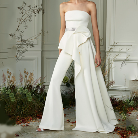 Fashion personality irregular solid color female jumpsuit